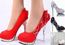 婚鞋红色高跟鞋细跟秋冬成年礼单鞋中跟鞋水钻白色圆头婚纱照女鞋