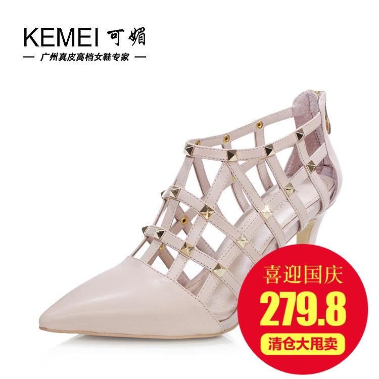 可媚正品女鞋新春款中口欧美铆钉牛皮拉链细高跟罗马鞋KA5139-01
