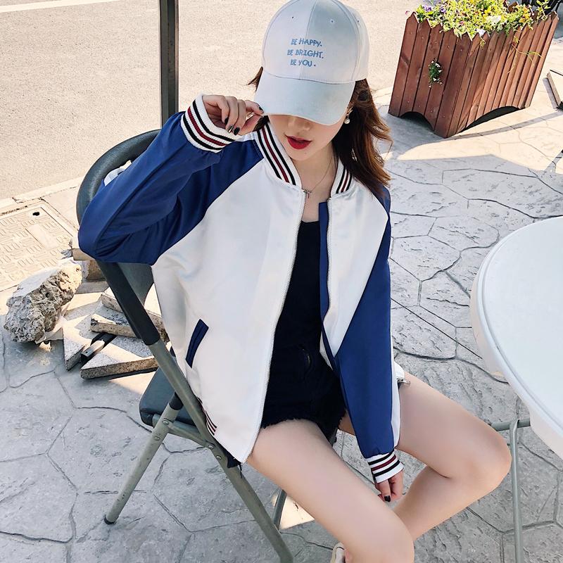2018春秋新款原宿风bf风学生宽松夹克长袖棒球服短外套薄女装外套