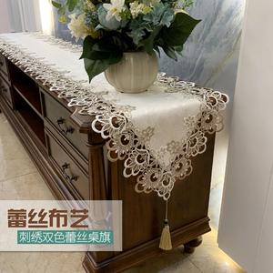 茶幾電視柜桌布桌旗布藝蕾絲歐式套裝美式梳妝臺美甲長條防塵蓋布