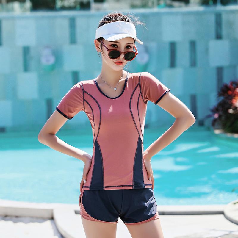 泳衣女2019新款保守遮肚显瘦韩国ins风两件套学生运动温泉游泳装12-02新券