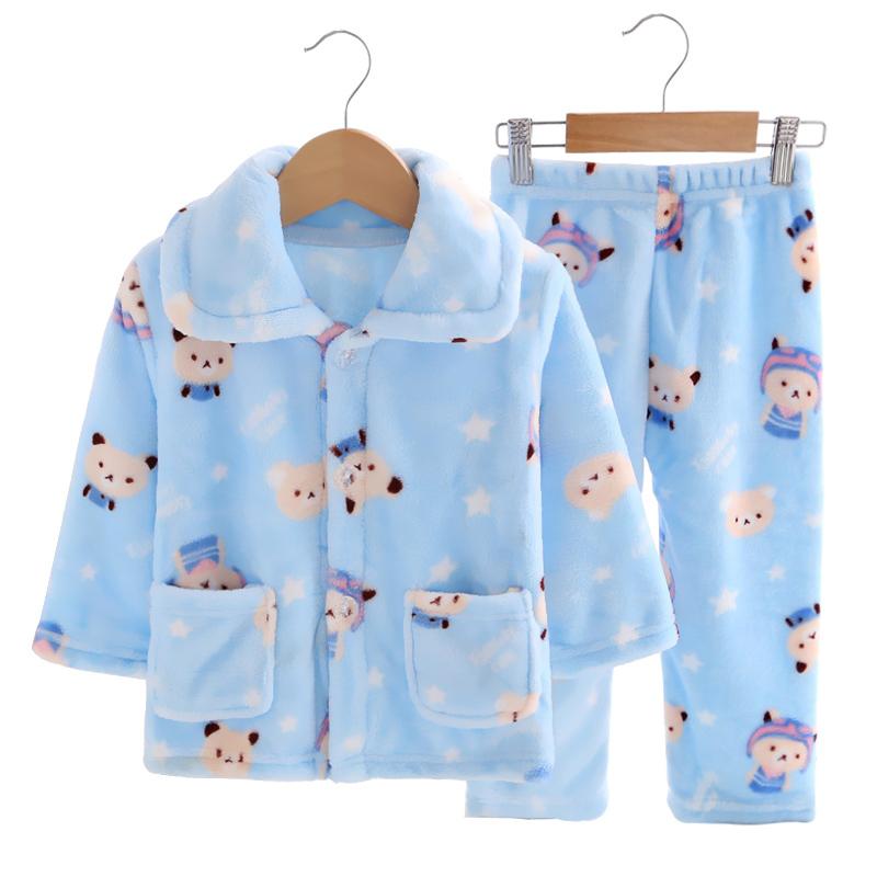 Осенью и зимой мальчиков ребенок фланель пижама девочки ребенок в небольшой ребенок домой одежда коралл мальчик установите