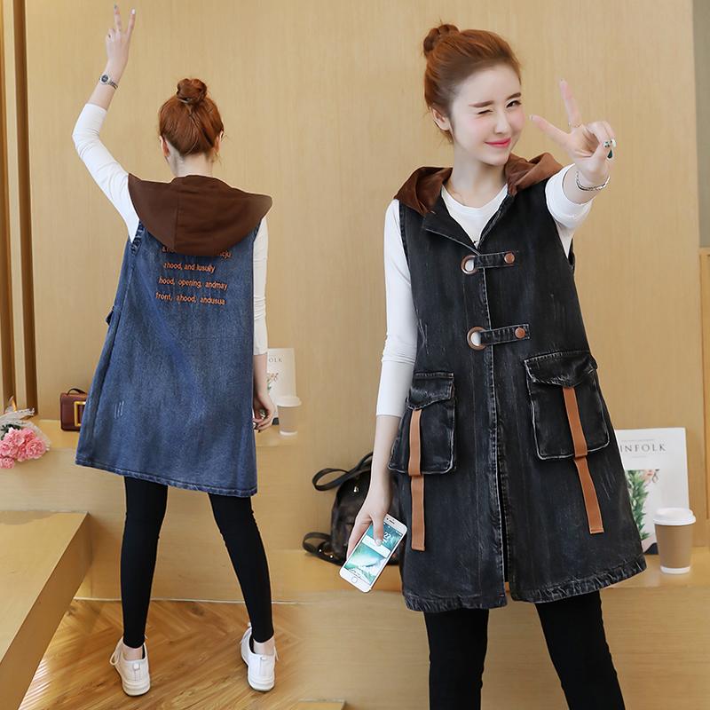 Ковбой жилет беременная женщина жилет женщина длина весна корейский свободный куртка дикий жилет весна пальто волна