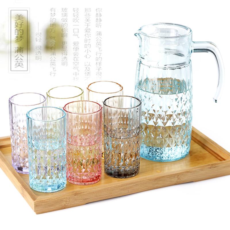 彩色玻璃杯套裝水杯套裝杯子套裝涼水壺冷水壺泡茶杯套裝玻璃家用
