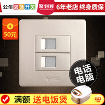 Bull switch Socket computer Phone Panel network socket panel cable wire telephone line Gold