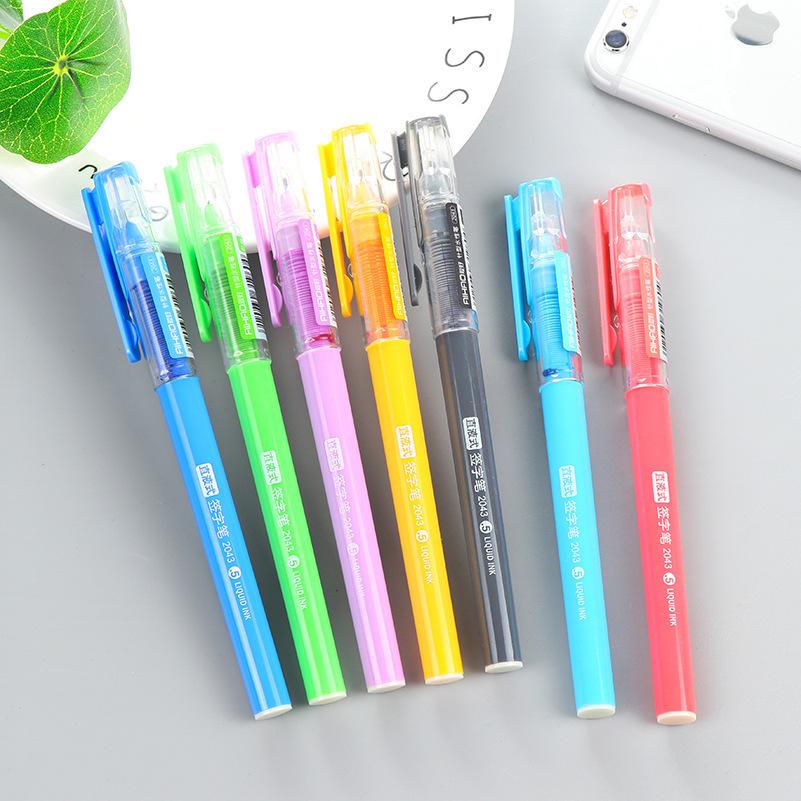创意糖果色直液式走珠笔彩色针管型纯色中性笔爱好0.5mm签字笔
