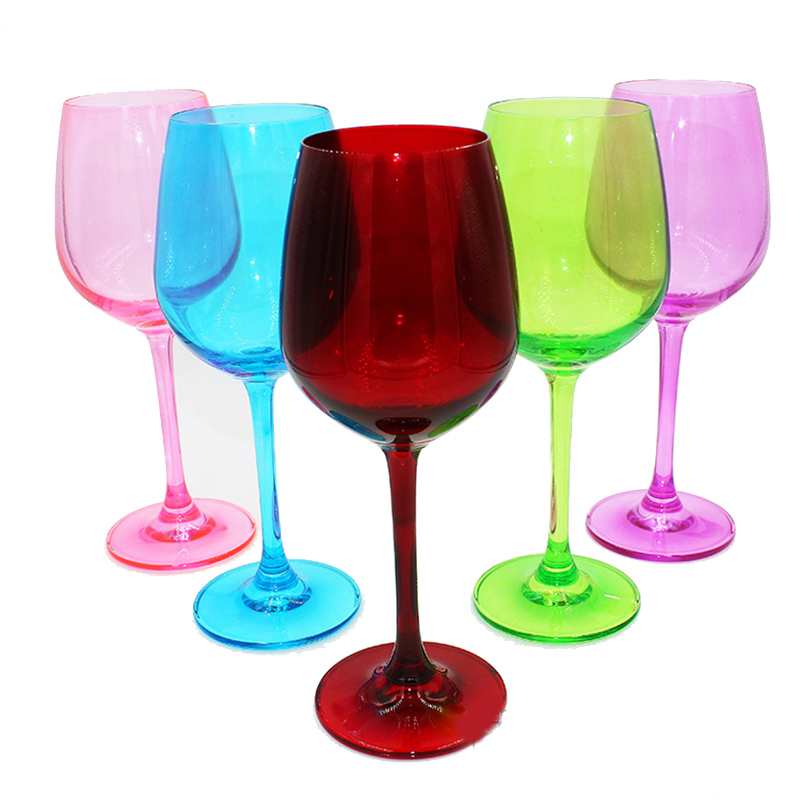 热销21件限时秒杀包邮水晶玻璃高脚杯红酒杯葡萄酒杯家居摆件装饰香槟杯彩色酒杯