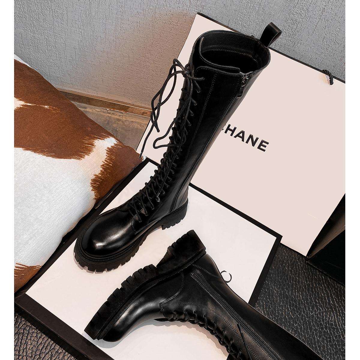 马丁靴黑色厚底显瘦系带高筒靴子长筒骑士靴女2021春夏季新款长靴