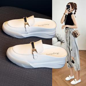 内增高2021年新款包头小白半拖鞋