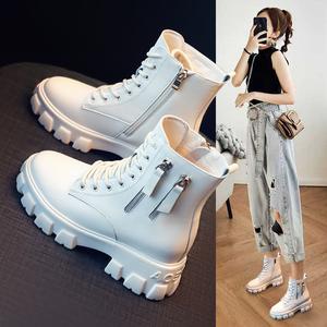 内增高马丁靴女鞋子2020年新款百搭加绒秋冬季雪地棉鞋瘦瘦短靴子