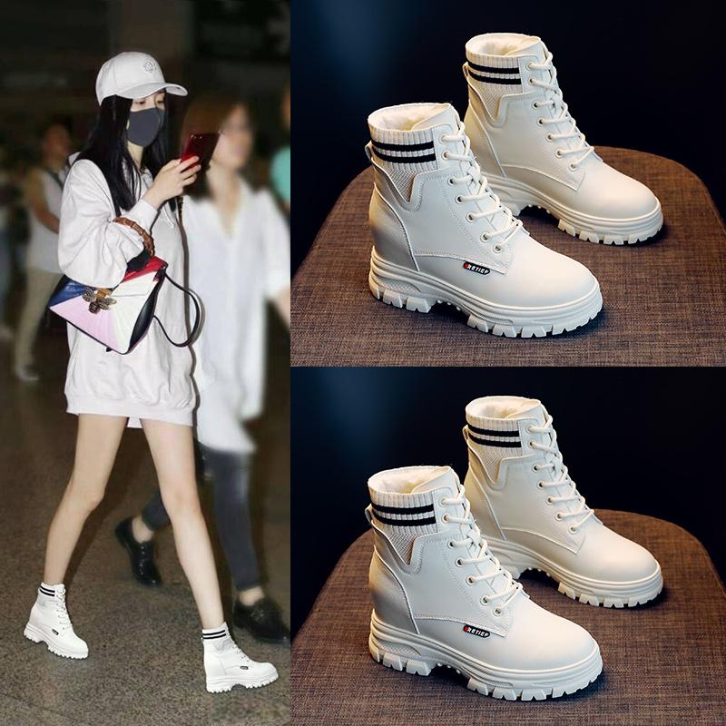 马丁靴女鞋子2019潮鞋新款秋冬季厚底百搭瘦瘦袜靴冬鞋加绒短靴子