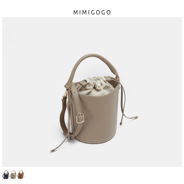 G023手提水桶单肩包内置帆布抽绳头层纳帕牛皮MIMIGOGO