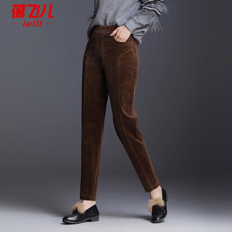 灯芯绒2021春秋款高腰小脚条绒裤子