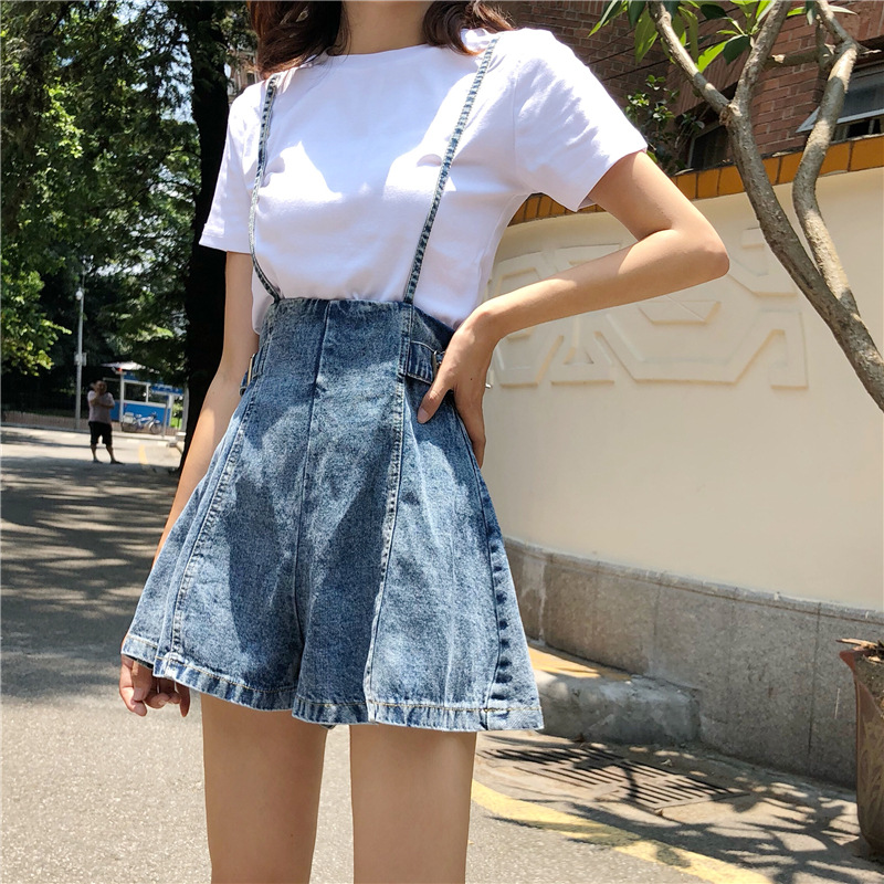 New Korean version of wide leg high waist show thin front and back with suspenders versatile denim shorts womens pure white T-shirt womens suit