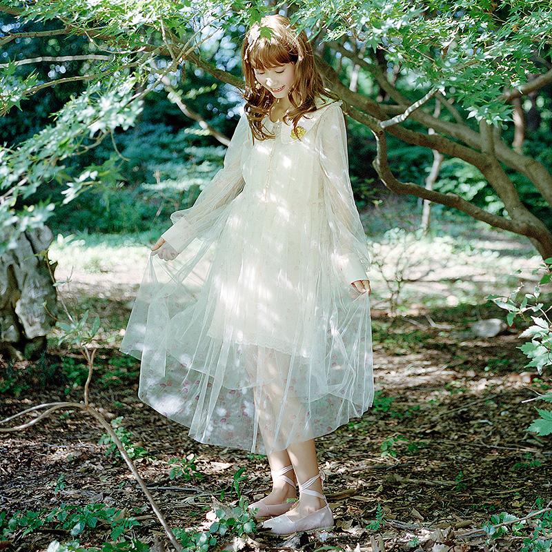 云分子原创森女春装女2019新款日系甜美娃娃领长袖连衣裙高腰碎花