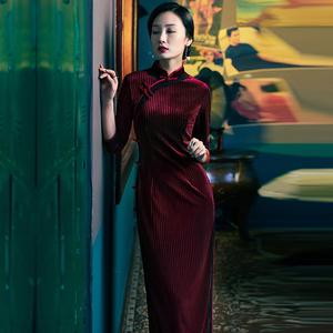 四小姐改良高端丝绒旗袍春秋款长款气质中袖连衣裙民国老上海
