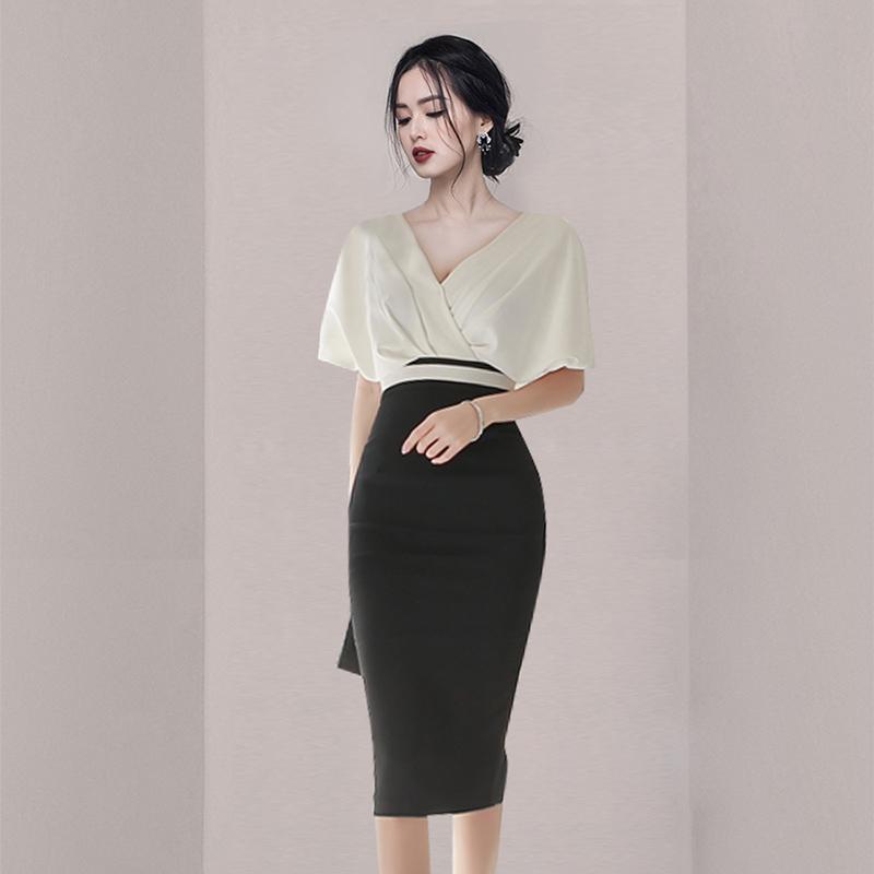 v领包臀黑色显瘦性感系带法式修身连衣裙