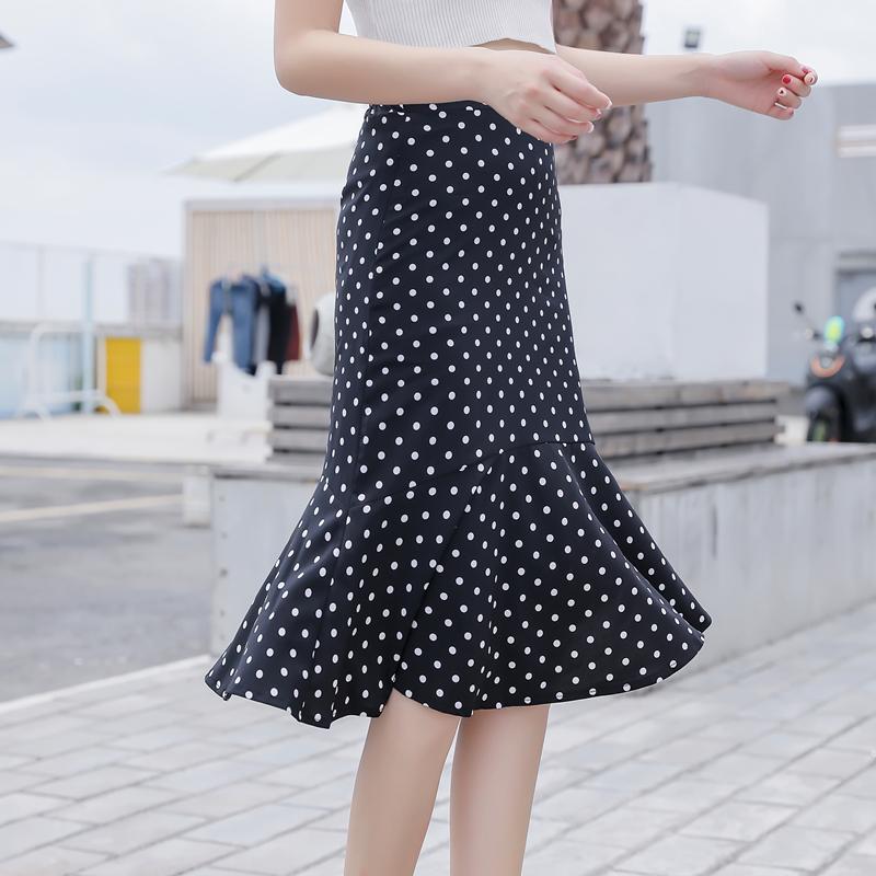 波點半身裙女2021新款韓版春夏季黑色雪紡A字裙中長款包臀魚尾裙