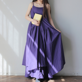 民族风棉麻大摆夏款显瘦长款吊带裙
