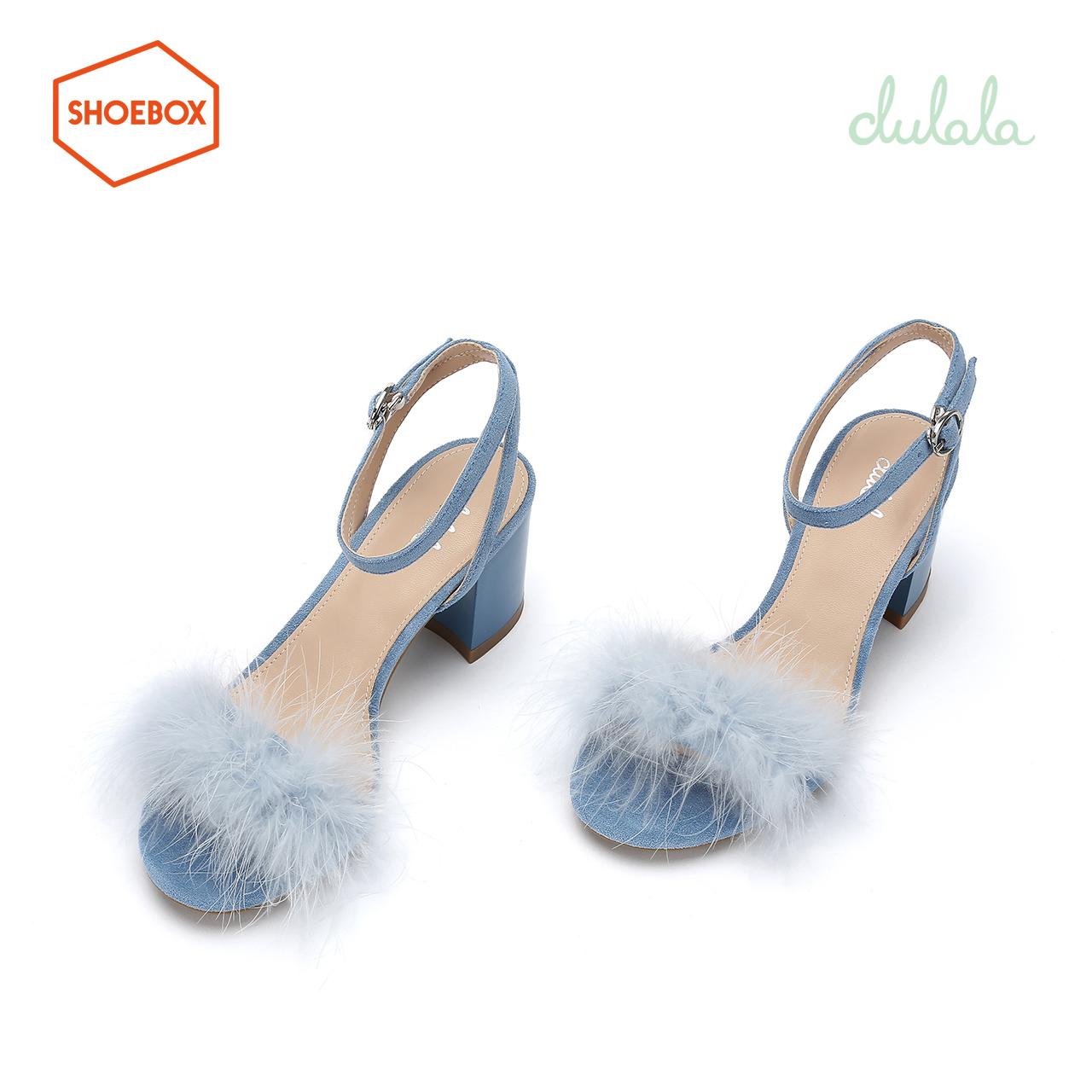 鞋柜一字带凉鞋女仙女风2019新款夏dulala毛毛网红高跟粗跟凉鞋