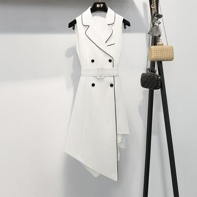 白色连衣裙2020夏气质女神范不规则中长裙高腰显瘦法式无袖小白裙