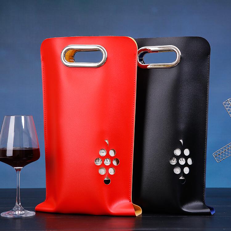 红酒盒皮盒单支装红酒包装盒法国葡萄酒礼盒红酒双支手提袋子包邮 Изображение 1