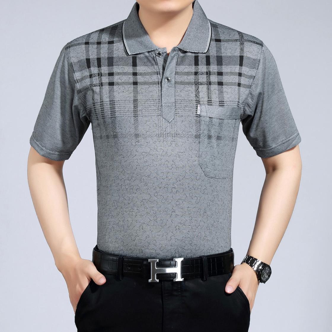 爆款短袖 中老年男装薄款翻领上衣 老人夏装T恤衫 中年汗衫半袖衫