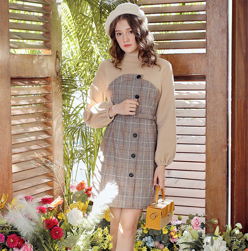 Vintage elegant Plaid patchwork tweed dress with slim waist in autumn and winter long sleeve French skirt