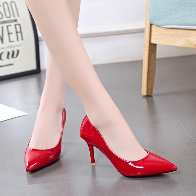 44码大码胖脚女鞋7cm细跟尖头高跟鞋男士cosplay反串伪娘鞋演出46