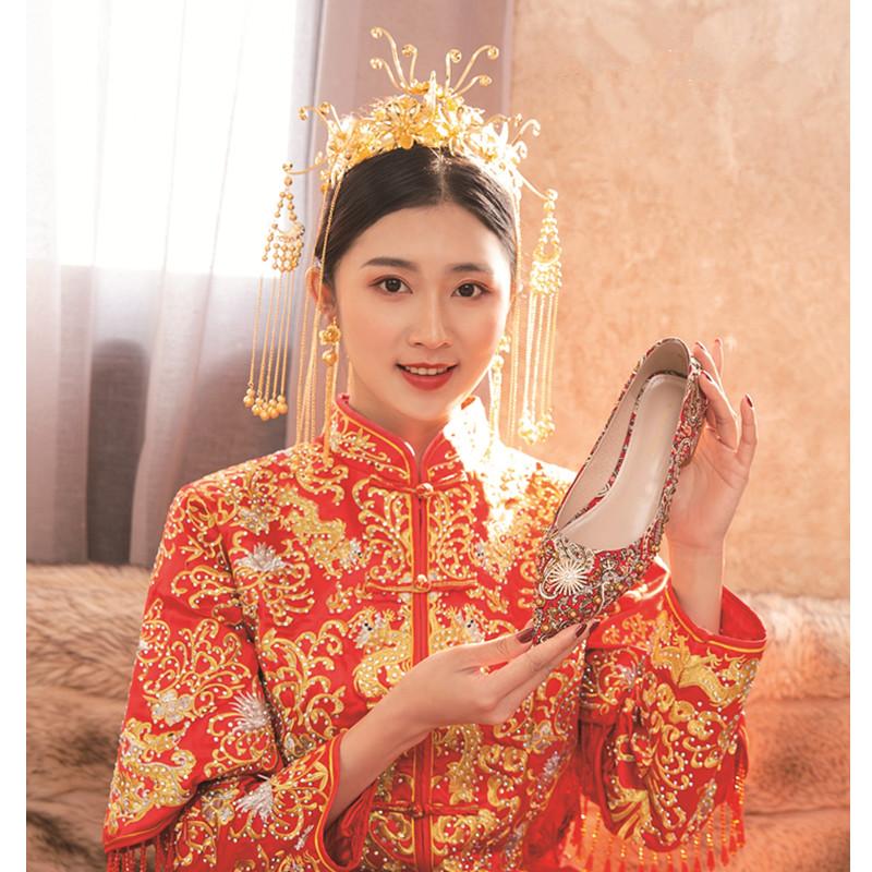 结婚鞋新款红色秀禾高跟新娘中式礼服旗袍平跟细跟粗跟孕妇婚纱鞋