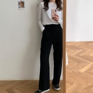 HEYGIRL黑哥 敲显瘦高腰直筒西装裤女 韩版宽松薄款长裤2021秋款