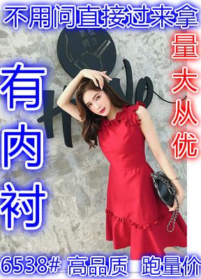红色雪纺连衣裙2021流行裙子夏小红裙气质收腰无袖法式复古仙女裙