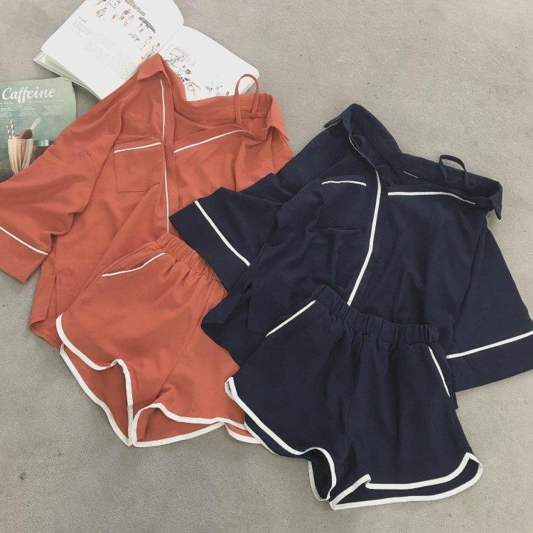 Новая весна и лето корейские модели страна простой твердый рубашка стиль сладкий ветер домой маленькая очередь воротник пижама + шорты два рукава женщина