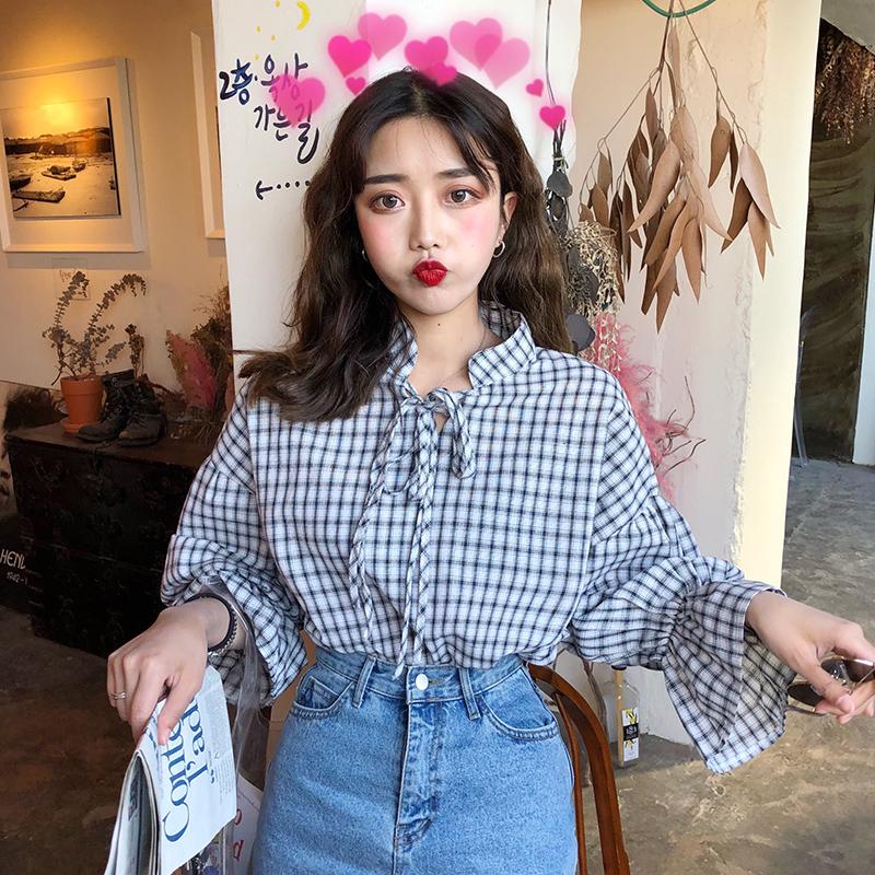 夏季新款韓版chic顯瘦港風荷葉立領系帶格子寬鬆襯衣女裝上衣襯衫