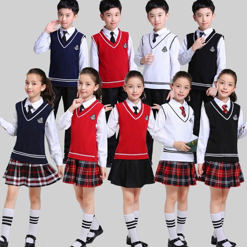 儿童大合唱演出服中小学生诗歌朗诵表演服校服男女童团体合唱服装