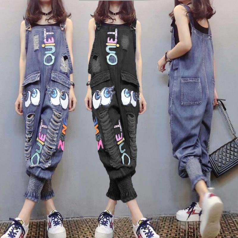 Europe station 2021 new spring and summer large womens wear high waist casual loose hole Harlan small leg strap jeans
