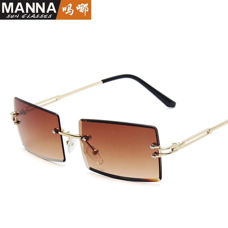 新款无框切边太阳镜女士方形网红渐变色墨镜跨境潮流街拍眼镜