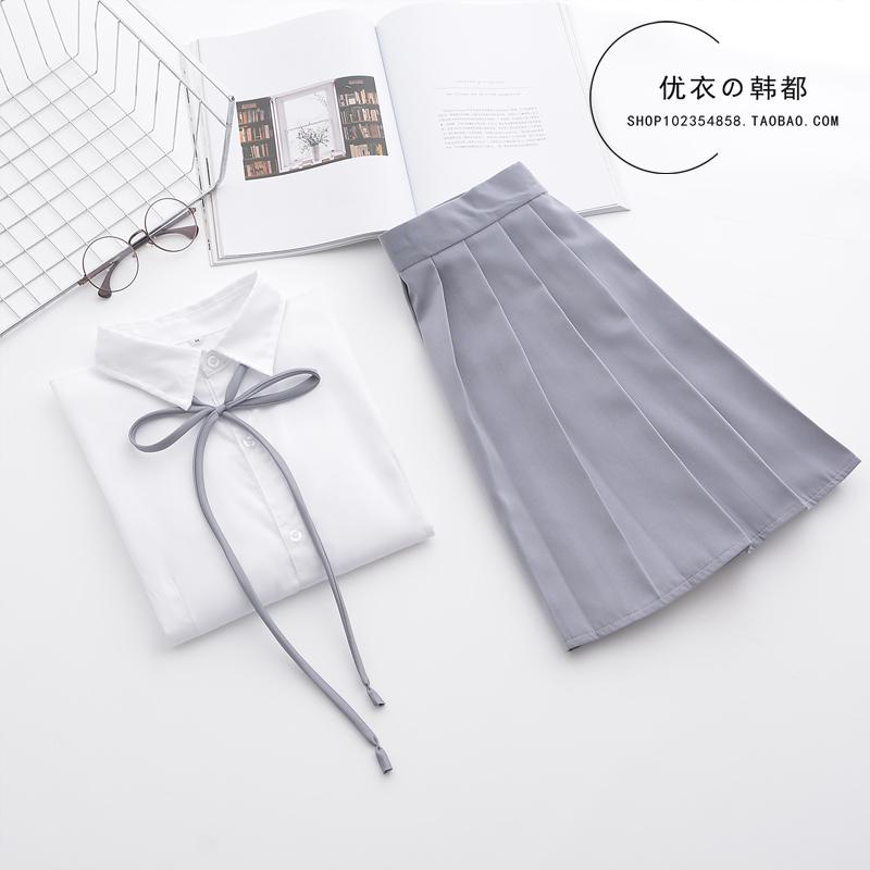日系班服角襟男女白衬衫长袖水手服券后30.00元