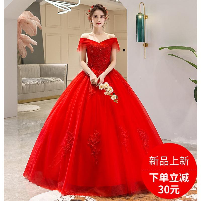 孕妇婚纱2019新款夏韩版一字肩红色结婚齐地新娘礼服修身高腰大码
