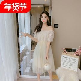 短袖露肩连衣裙25女士网纱短裙30中青年女装蕾丝群子35岁女人夏裙