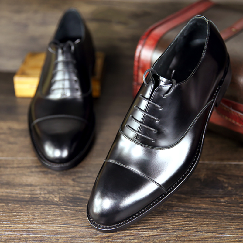 Handmade handmade leather shoes of handmade handmade leather shoes Goodyear custom three tie tie European wedding business Oxford low top 012 bright