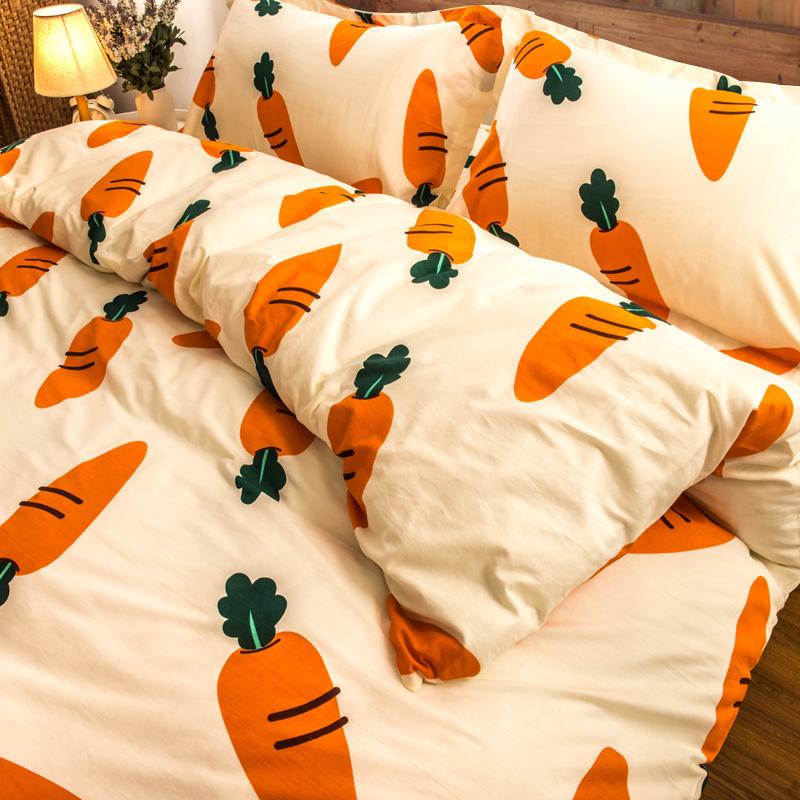全棉被套单件女学生宿舍1.5米床单人150x200网红胡萝卜纯棉被罩