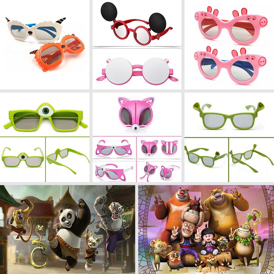 Childrens adult cinema special 3D glasses lovely childrens cinema non flashing polarized 3D glasses