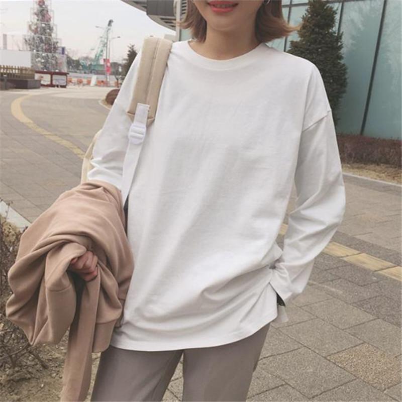 2018秋季新款韩版纯色圆领长袖t恤女百搭纯棉白色宽松体恤打底衫