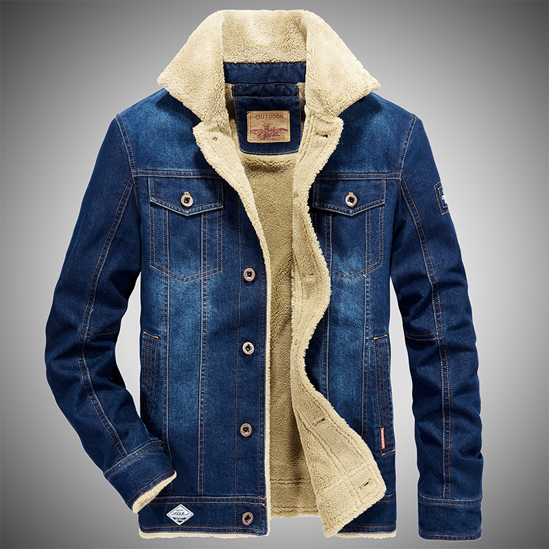 Autumn new denim Plush jacket mens young and middle-aged fashion large denim jacket pure cotton warm top fashion
