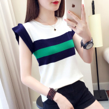 Sleeveless T-shirt Women's New Ice Silk vest for 2019 Women Wearing Fashion Knitted T-shirt Short Style Fresh Top for Summer Outer