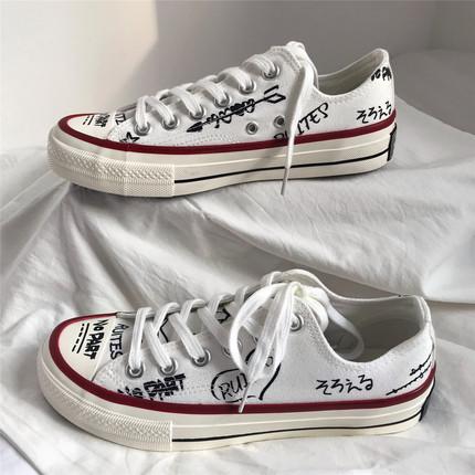ins同款板鞋小众学生涂鸦女鞋手绘款1970s帆布鞋女韩版休闲小白鞋