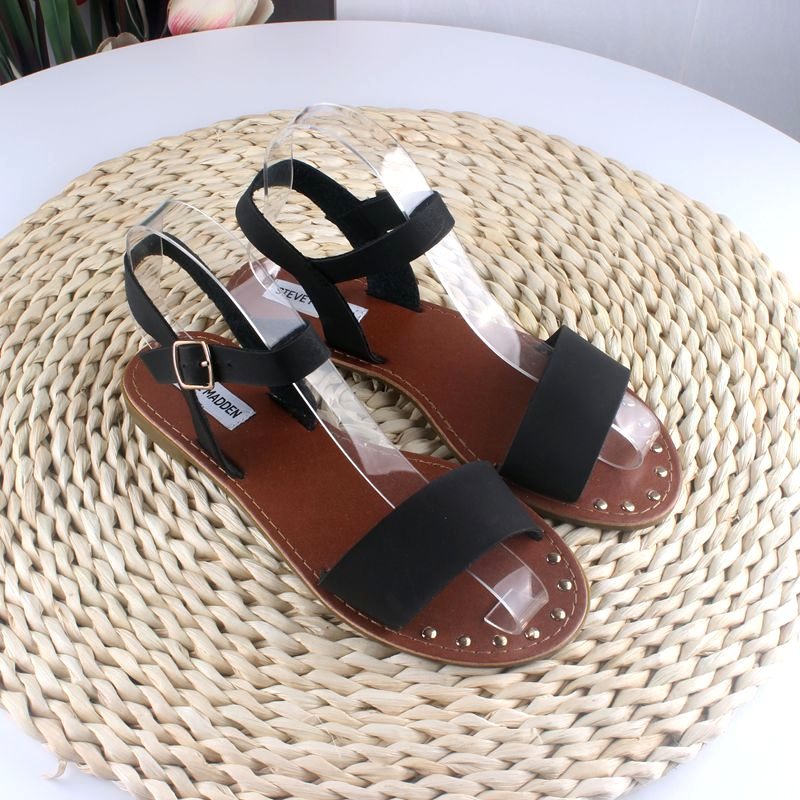 U.S. single foreign trade large one line lace up elegant flat bottom buckle sandals lightweight womens shoes open toe 36-41