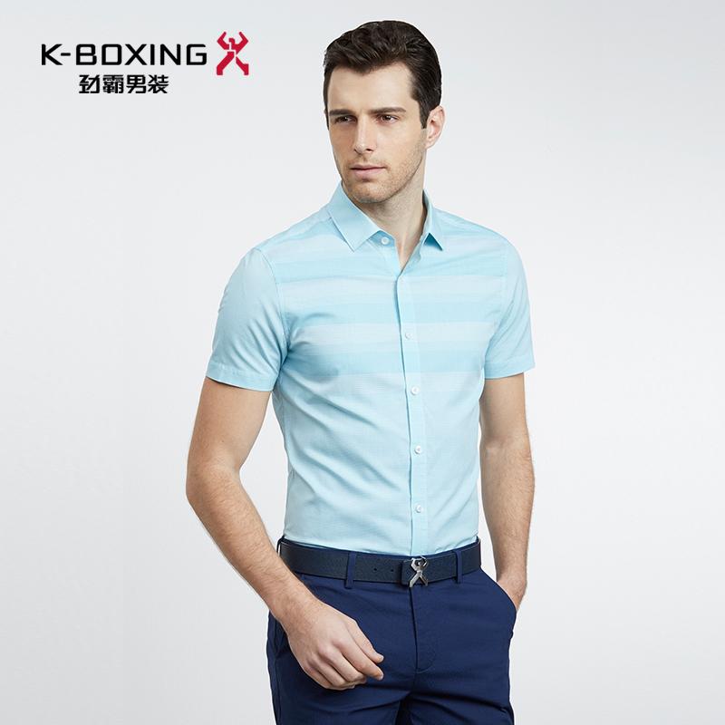 劲霸男装专柜正品衬衫 2018夏季新款 莱赛尔休闲衬衣男士短袖衬衫
