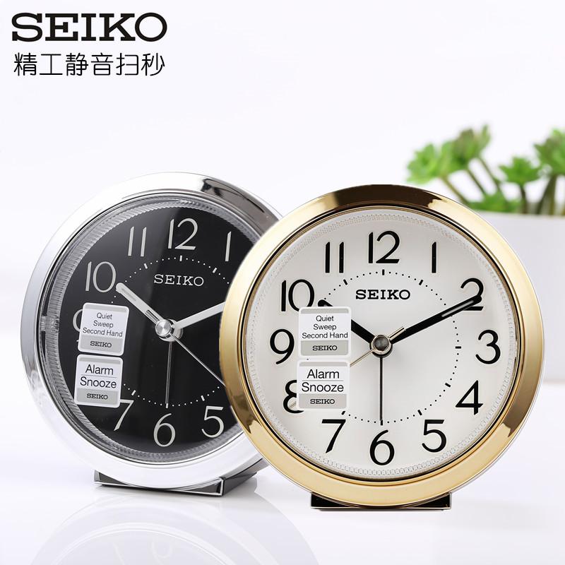 包邮正品SEIKO日本精工闹钟床头简约现代闹表电子夜光静音QHE146